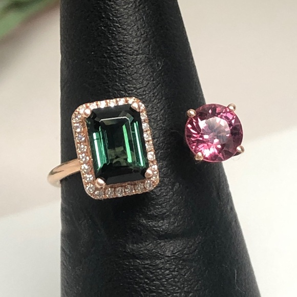 ON SALE Blue Green and Pink Tourmaline Adjustable 14k Gold Ring